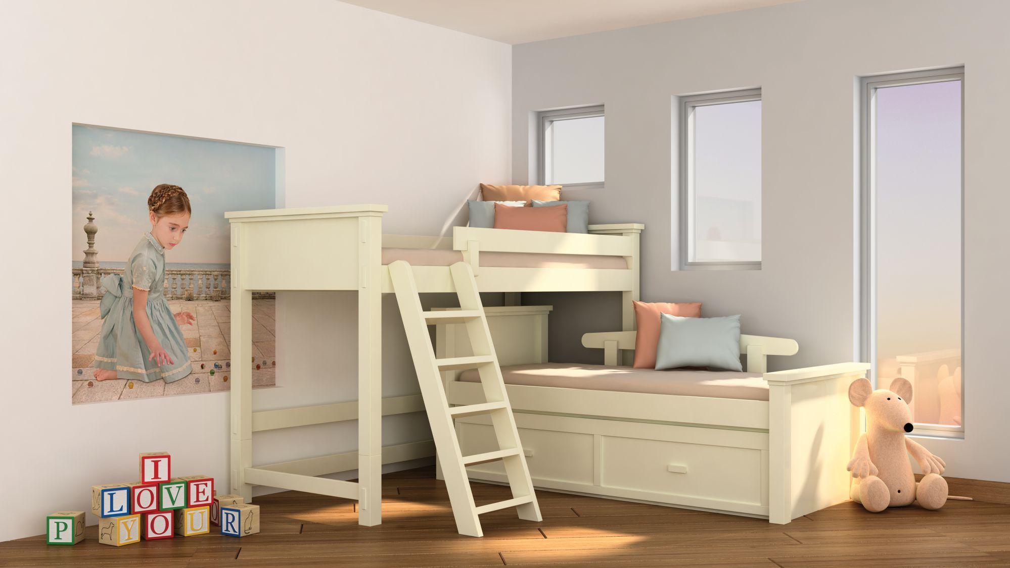 מיטת קומותיים עץ מלא קטן - מיטת גלריה