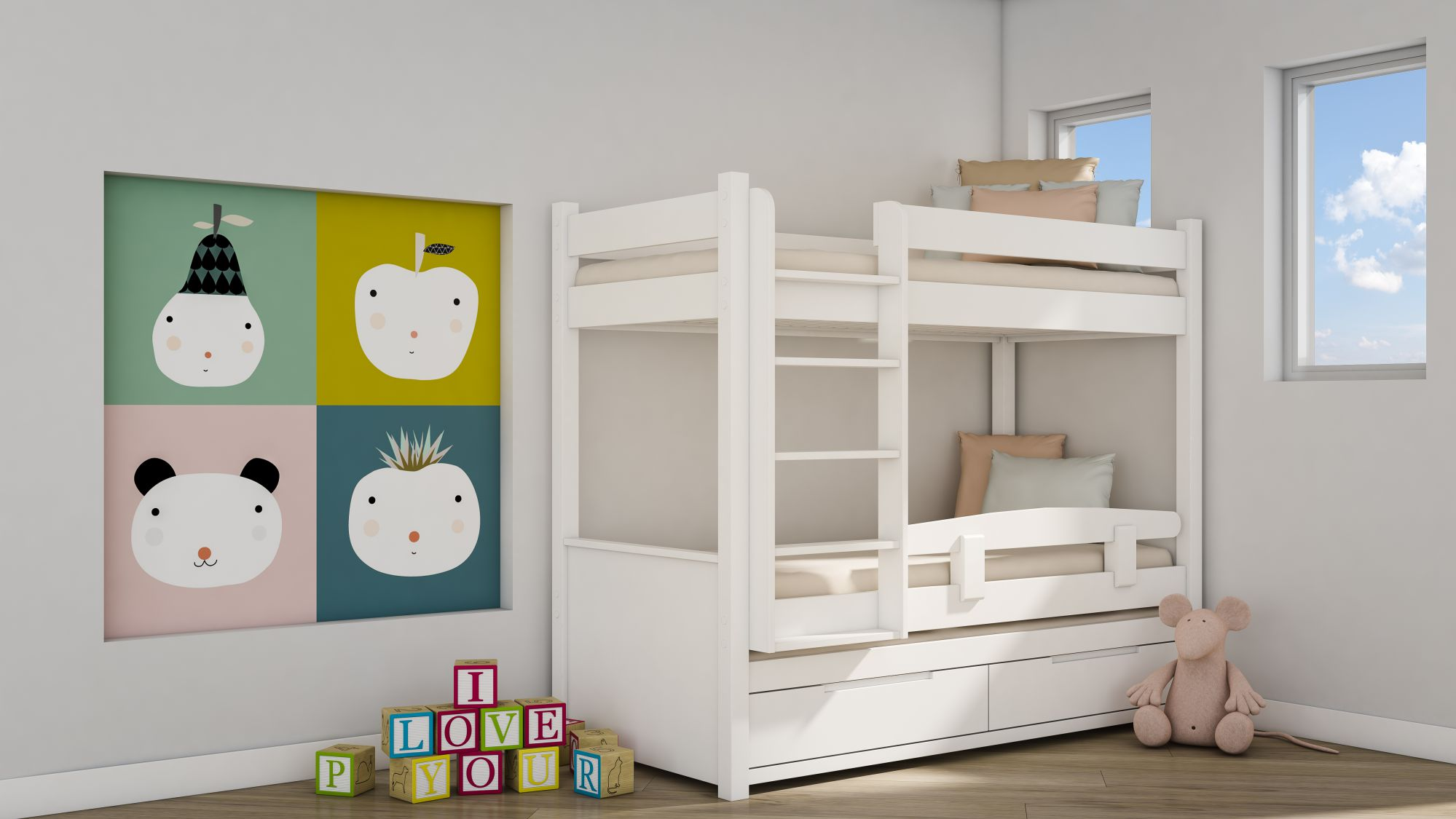 מיטות ילדים - מיטת קומותיים מעץ מלא