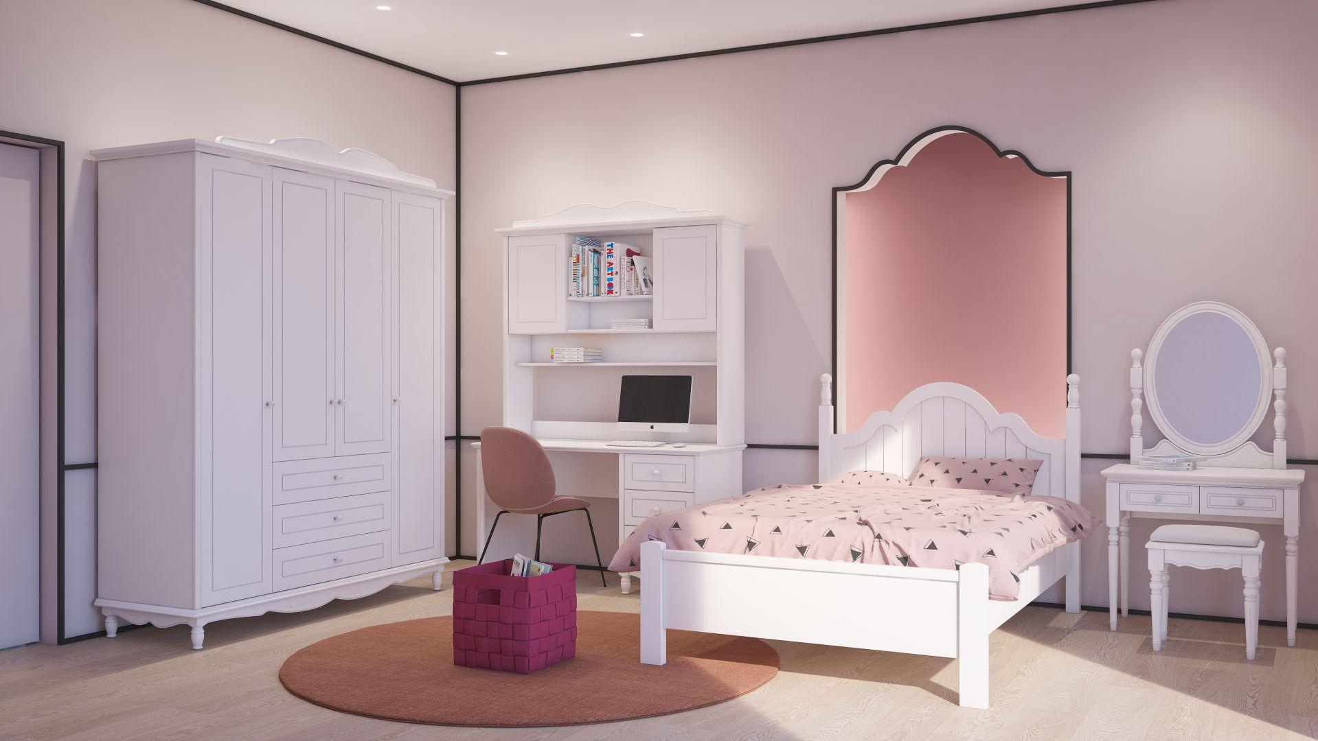 חדר נערות בצבע לבן ויוקרתי
