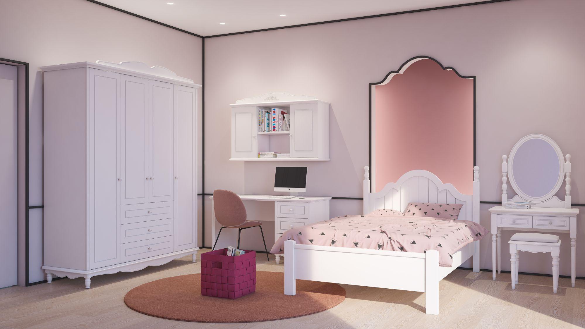 חדר נערות לבן מדגם ליה - חדרי ילדים ונוער